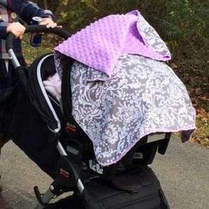 Carseat canopy lavender minky and gray paisley